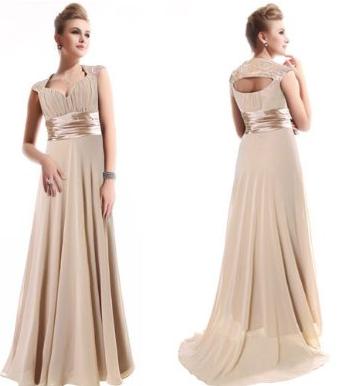 Beige Chiffon Prom Evening Dress